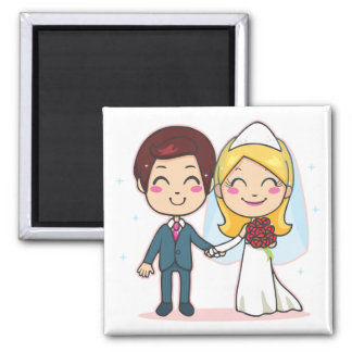 Pares casados que llevan a cabo las manos imán cuadrado