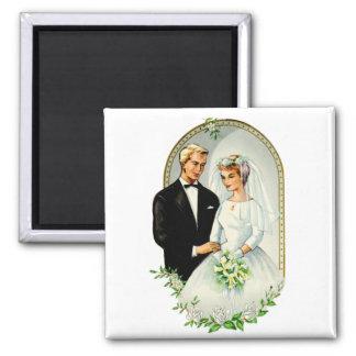 Pares casados retros de la boda 60s del vintage imán cuadrado