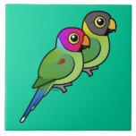 pares Ciruelo-dirigidos del Parakeet Azulejos Ceramicos