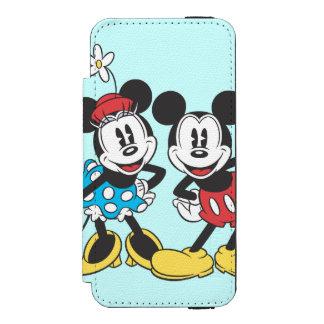 Pares clásicos de Mickey y de Minnie el   Funda Billetera Para iPhone 5 Watson