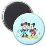 Pares clásicos de Mickey y de Minnie el | Imán Redondo 5 Cm