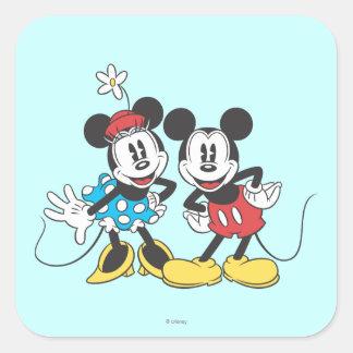 Pares clásicos de Mickey y de Minnie el | Pegatina Cuadrada