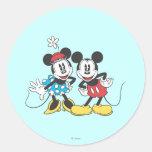 Pares clásicos de Mickey y de Minnie el | Pegatina Redonda