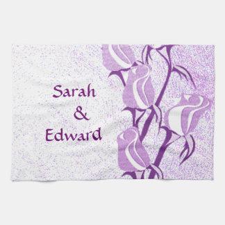 Pares color de rosa púrpuras personalizados toalla de mano