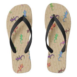 Pares coloridos de los lagartos de flips-flopes