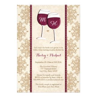 Pares cones monograma de las copas de vino que cas