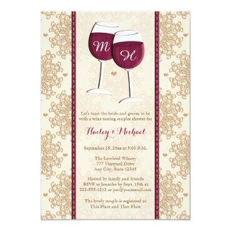 """Pares cones monograma de las copas de vino que invitación 5"""" x 7"""""""