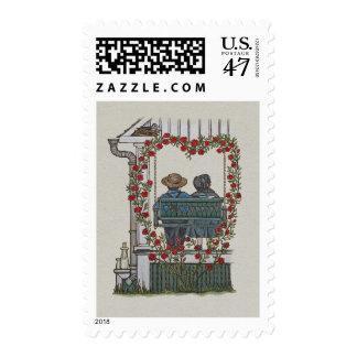 Pares de Amish en el oscilación del pórtico Sellos Postales