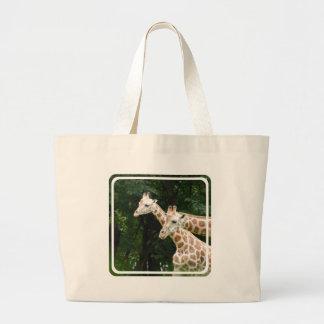 Pares de bolso de la lona de las jirafas bolsas lienzo