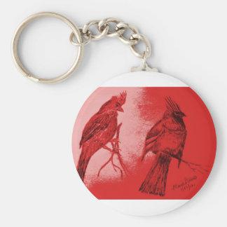 Pares de cardenales llavero redondo tipo pin