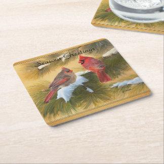 Pares de cardenales posavasos desechable cuadrado
