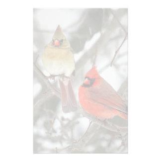 Pares de cardenales septentrionales  papeleria de diseño
