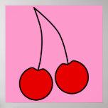 Pares de cerezas rojas. Esquema negro Impresiones