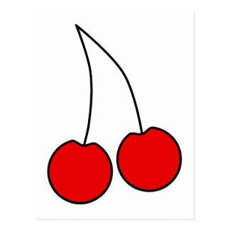 Pares de cerezas rojas. Esquema negro Tarjetas Postales