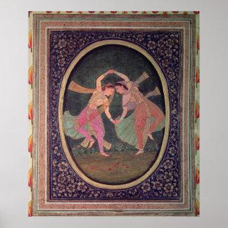 Pares de chicas de baile que realizan un Kathak Posters