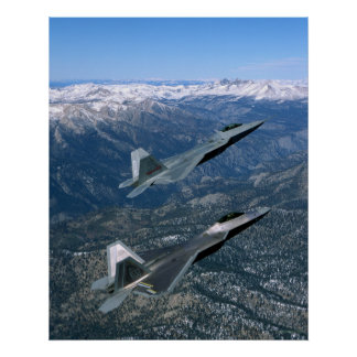 Pares de combatientes de la fuerza aérea F22 Póster
