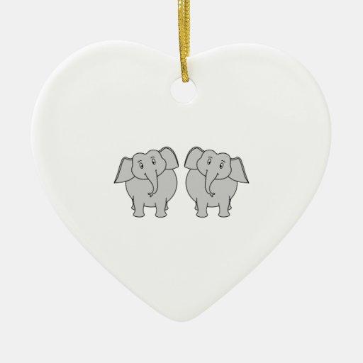 Pares de elefantes lindos. Pares Adorno Navideño De Cerámica En Forma De Corazón