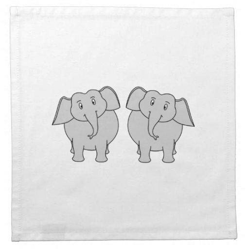 Pares de elefantes lindos. Pares Servilleta