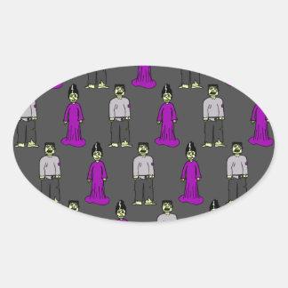 Pares de Frankenstein Pegatina Ovalada