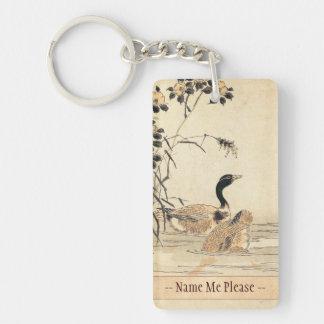 Pares de gansos con arte del japonés del vintage d llavero rectangular acrílico a doble cara