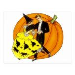 Pares de Halloween del baile Postal