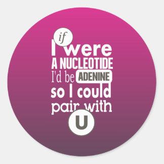 Pares de la adenina del nucleótido de la biología etiquetas redondas