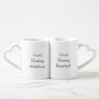 Pares de la buena mañana tazas para enamorados