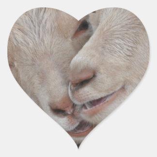 Pares de la cabra pegatina en forma de corazón