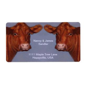 Pares de la carne de vaca de Hereford: Arte Etiqueta De Envío