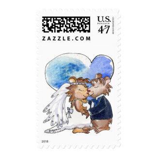 Pares de la danza del boda del dibujo animado sello