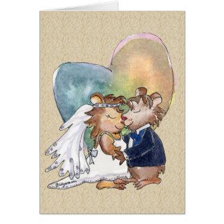 Pares de la danza del boda del dibujo animado tarjeta de felicitación
