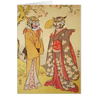 Pares de la impresión del japonés del hombre y de  tarjeta de felicitación