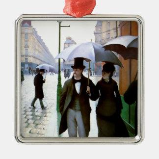 Pares de la lluvia de París conforme al poster del Adorno Navideño Cuadrado De Metal