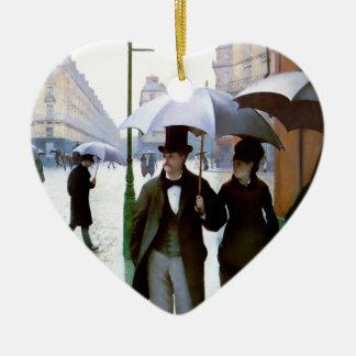 Pares de la lluvia de París conforme al poster del Adorno Navideño De Cerámica En Forma De Corazón
