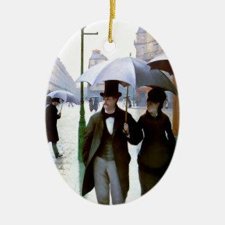 Pares de la lluvia de París conforme al poster del Adorno Navideño Ovalado De Cerámica