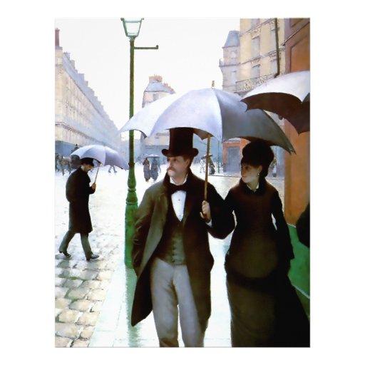 Pares de la lluvia de París conforme al poster del Plantilla De Membrete