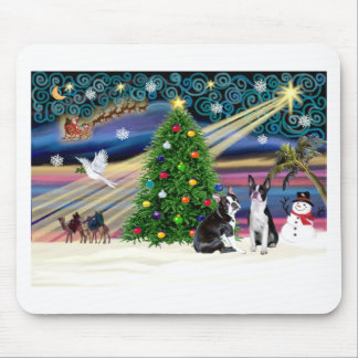Pares de la Magia-BostonTerrier de Navidad Tapete De Raton