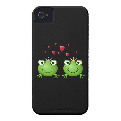 Pares de la rana con los corazones Case-Mate iPhone 4 cárcasas