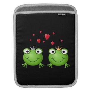 Pares de la rana con los corazones fundas para iPads
