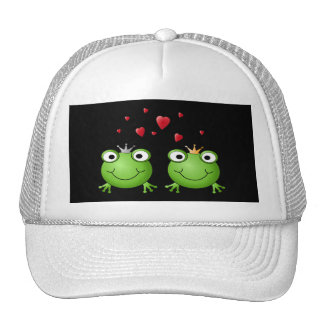 Pares de la rana con los corazones gorra
