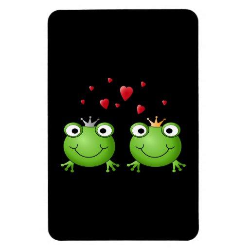 Pares de la rana con los corazones imanes rectangulares