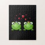 Pares de la rana con los corazones puzzles con fotos