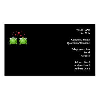Pares de la rana con los corazones tarjetas de visita