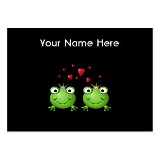 Pares de la rana con los corazones tarjetas de visita grandes