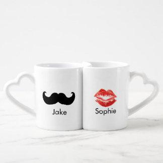 Pares de la taza conocida de encargo del bigote y  tazas para parejas
