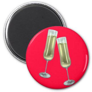 Pares de las flautas de champán imán redondo 5 cm