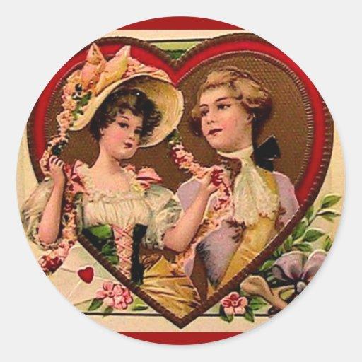 Pares de las tarjetas del día de San Valentín del Pegatina Redonda