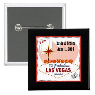 Pares de Las Vegas de corazones novia y de botón d Pin Cuadrado
