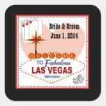 Pares de Las Vegas de corazones que casan a los Pegatina Cuadrada