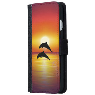Pares de los delfínes de la puesta del sol del funda cartera para iPhone 6